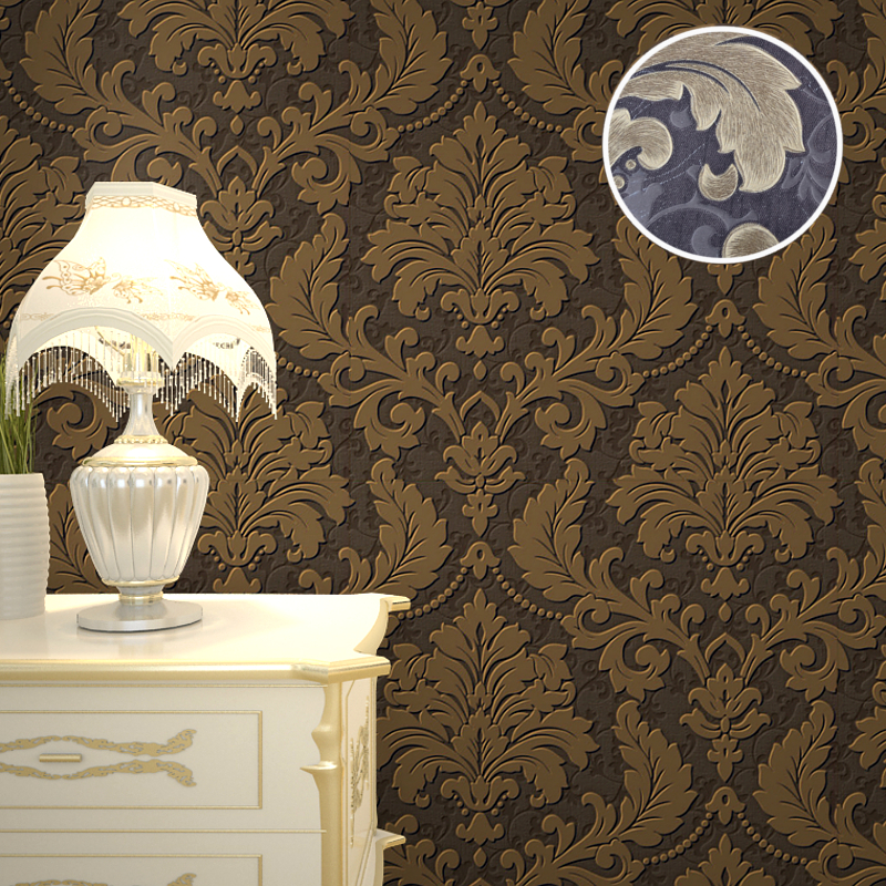 Vintage victorian 3d silver damask wallpaper roll modern for Wallpaper home vintage