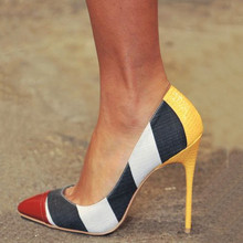 SHOFOO shoes,Novelty beautiful free shipping, multi color cloth stitching, 11 cm high-heeled shoes, pointed toe pumps.SIZE:34-45