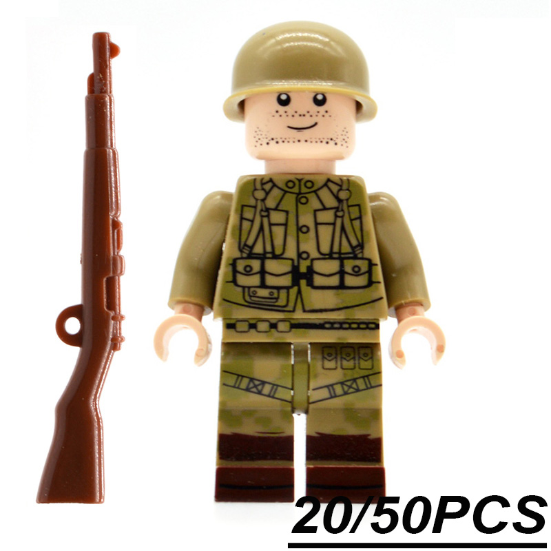 20/50PCs/lot WW2 Army The US Military Soldiers Building Blocks Bricks Figurine Weapons Kids Gifts Toys LS001 pvc building blocks army field combat military escort weapons