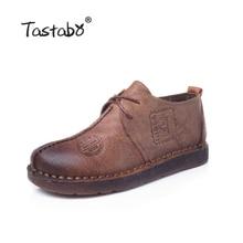 Tastabo Пояса из натуральной кожи обувь на плоской подошве для беременных женская обувь для мам обувь для вождения женские мокасины Туфли без каблуков ручной Вышивание Обувь