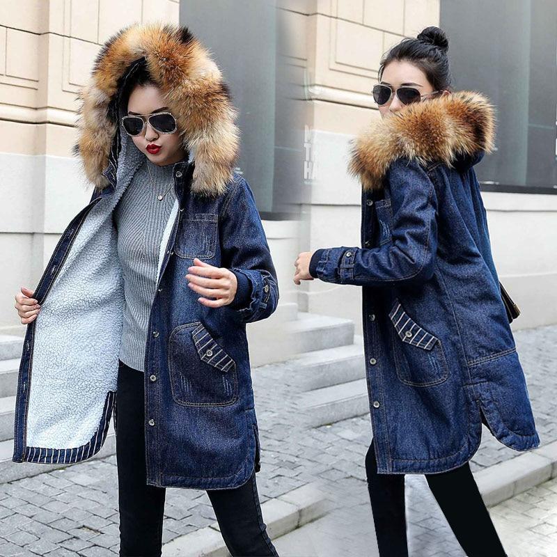 Fake Fur Collar Warm Winter Denim Jacket for Women Plus size S 5XL Fur lining Winter Jean Coat New 2019 Denim Female Jackets-in Jackets from Women's Clothing    1