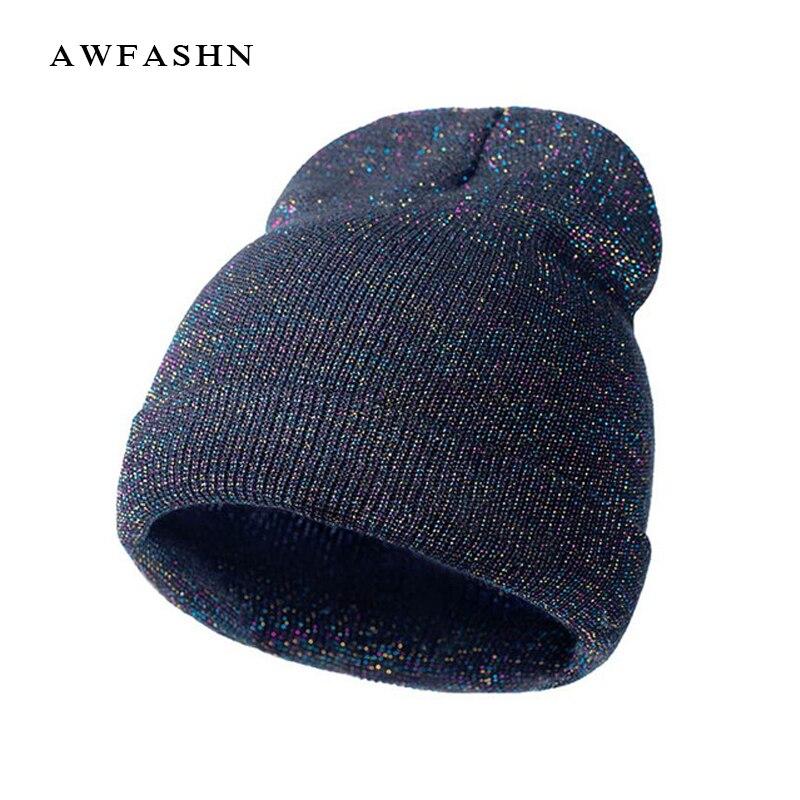 2017 New Arrivals Shiny Knit Hat   Beanies   Winter Cap For Women Men Headgear Hip Hop   Beanie     Skullies   Balaclava Baggy Hedging Cap