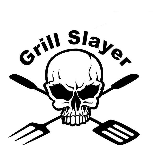 14cm 12cm Bbq Grill Cooking Skull Custom Car Stickers And