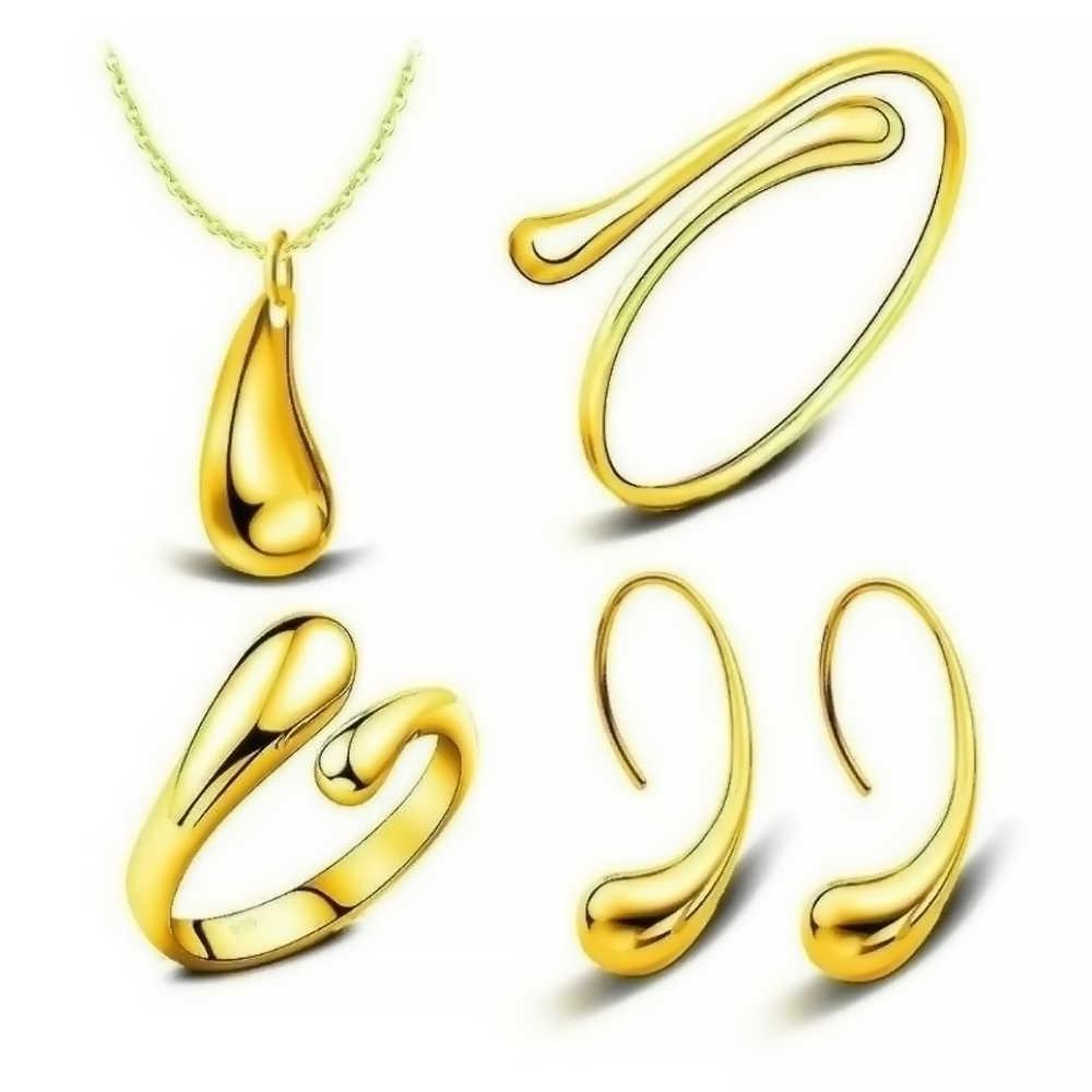 4 cái/bộ Vàng Sang Trọng Màu Bạc Cho Nữ Thời Trang Cưới Vòng Cổ Vòng Tay Bông Tai Nhẫn Cưới cô dâu Bộ Trang Sức
