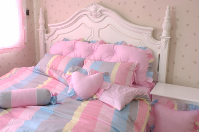 100 striped cotton candy color princess wind piece set bedding home textile 4 pieces - Buy Candy By Color