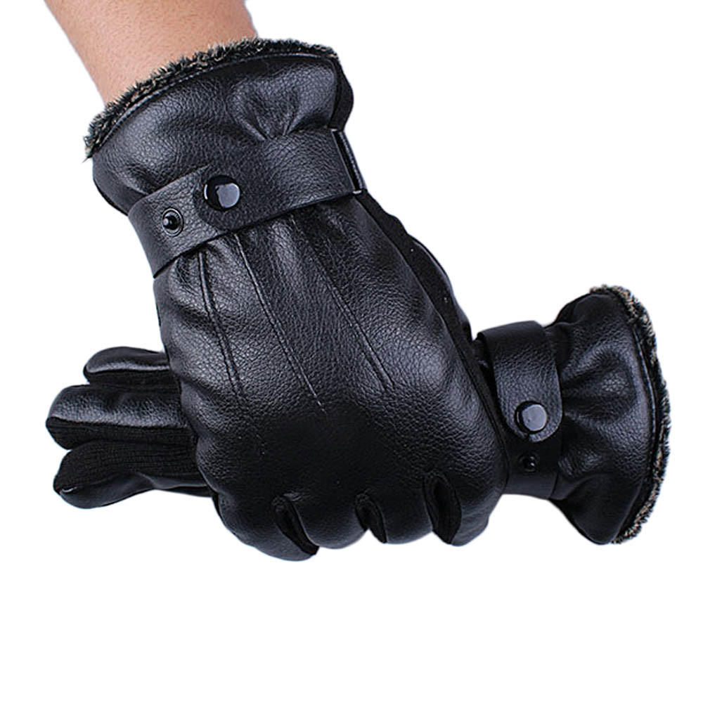Ladies leather cycling gloves - Winter Super Driving Luxury Men Pu Leather Soft Cashmere Female Lady Winter Outdoor Sport Warm Cotton