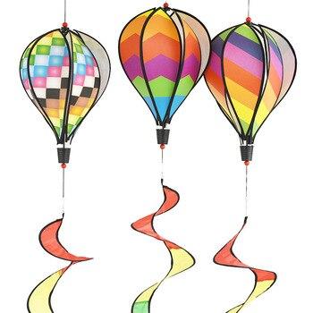 Hot Air Balloon Wind Spinner Garden Yard Outdoor Decor child gift festival celebration Rainbow Stripe or Grid Windsock