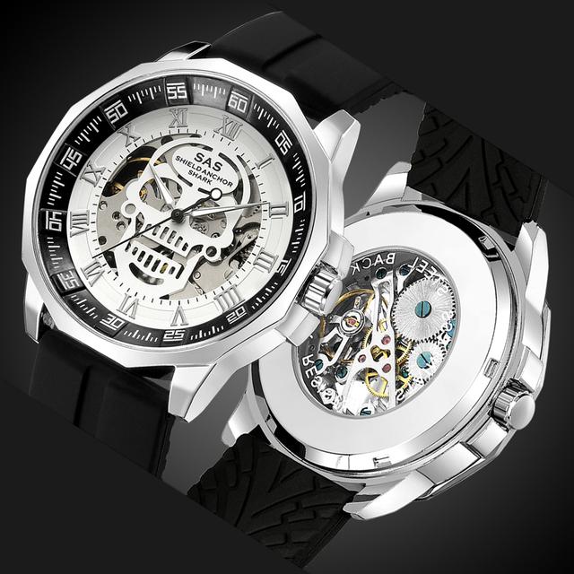 SAS Tarcza kotwica Shark Sport Watch mężczyźni moda 3D Skull Big Dial Vintage zegarki mechaniczne silikonowy pasek szkielet Watch