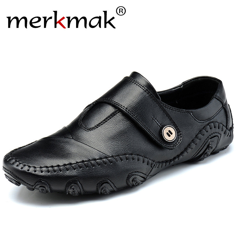Handmade Genuine Leather Men's Flats Casual Luxury Brand Men Loafers Comfortable Soft Driving Shoes Slip On Leather Moccasins split leather dot men casual shoes moccasins soft bottom brand designer footwear flats loafers comfortable driving shoes rmc 395