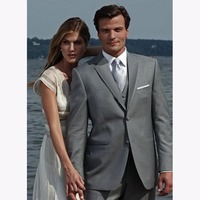 Unique Design Grey Mens Male Suit 2017 Notched Lapel Three Buttons Groomsman Tuxedos Wedding Suits For