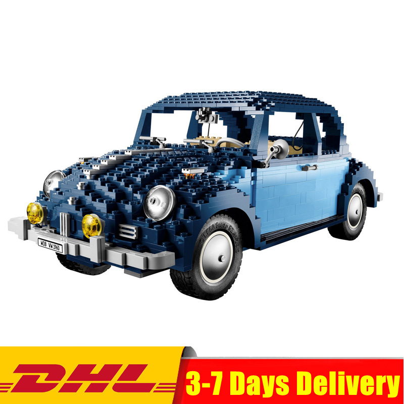 IN Stock LEPIN 21014 1707Pcs Technic Classic Series UCS VW Beetle Car Set Educational Building Blocks Bricks Toys Model 10187 1707pcs new lepin 21014 classic beetle model car building kits blocks bricks for children christmas gifts legoinglys 10187