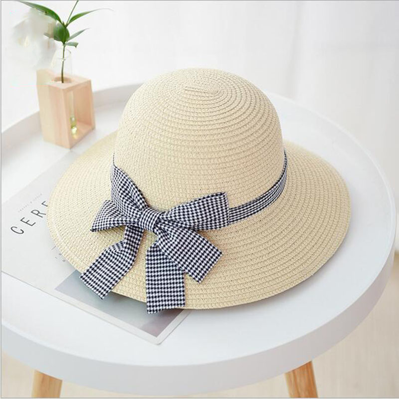 SUOGRY 2019 Hot Women Sun Hat UV Protection Casual Summer Beach Floppy Hat Wide Brimmed Straw hat Fresh Bow Hat in Women 39 s Sun Hats from Apparel Accessories