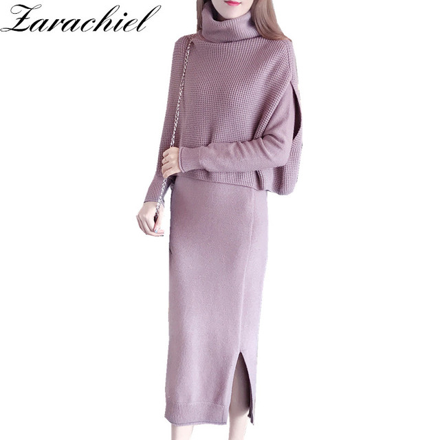 5da15dae Zarachiel Winter Two Pieces Women Sweater Elegant Turtleneck Cape Long  Cloak Sleeve Cashmere Solid Split Bodycon Knitting Dress