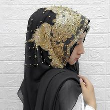 Exquisite Woman hijab Solid Color Sequin Beading Sequins Chiffon Silk Popular Shawls Scarf Headband Muslim Turban abaya Pearl