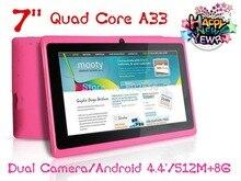 Tableta de 7 pulgadas de la tableta de Allwinner A33 Quad Core tablet pc Android 4.4 Q88 512 MB/8 GB 1024*600 2300 mAh wifi linterna descuento grande