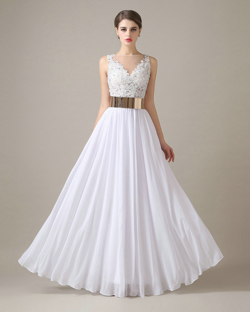 REAL MODEL White Wedding Dress Chiffon Floor Length Applique Lace Gowns With Gold Sash Vestidos De Novia In Dresses From Weddings Events