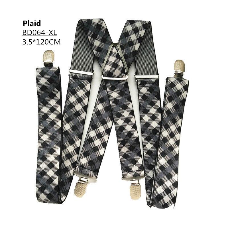 Одноцветные подтяжки унисекс для взрослых, мужские XXL, большие размеры, 3,5 см, ширина, регулируемые эластичные, 4 зажима X сзади, женские брюки, подтяжки, BD054 - Цвет: Plaid -120cm