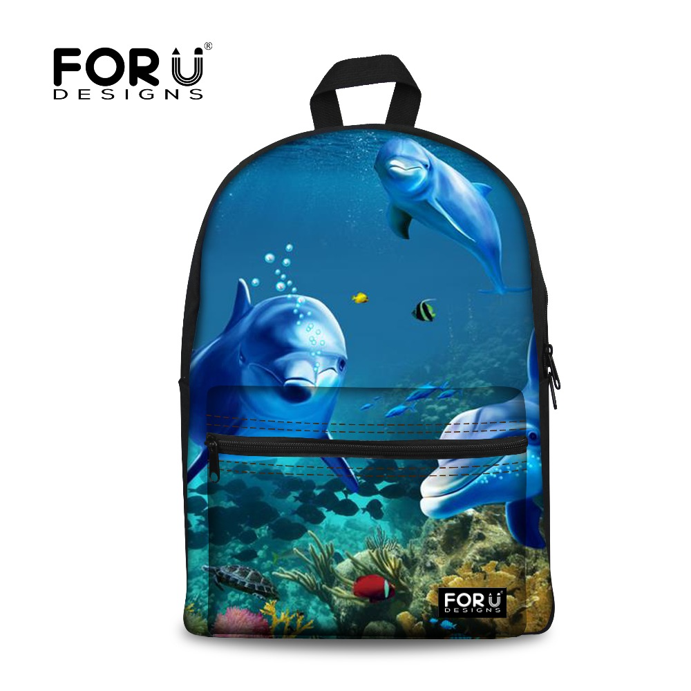 FORUDESIGNS Cool Backpacks for Teenage Girls Blue Ocean Shark Printing Canvas Rucksacks Travel Back pack Students School Bags