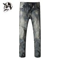 Hot Verkoop Jeans Ripped Denim Broek Slanke Jeans Mannen Volledige maat 29-40 Nieuwe Beroemde Merk Gat Jeans Broek Met Logo E708