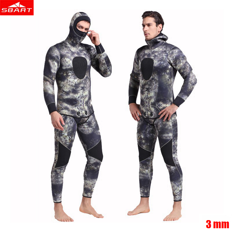Sbart Men 3mm Wetsuit neoprene Freediving spearfishing Diving suit snorkel swimsuit Split Suits combinaison hat surf wetsuit sbart upf50 806 xuancai