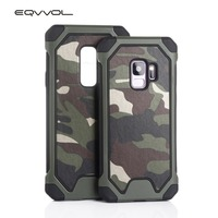 Eqvvol 3 In 1 Army Green Camouflage Case For Galaxy S9 S8 Plus S7 S6 Edge S5 Note 8 5 4 Soft TPU+ PC Silicon Phone Cases Cover