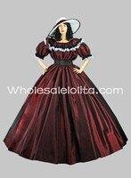 ורגונדי טפטה קצר שרוולי גותי ויקטוריאני מלחמת אזרחי כדור שמלת שמלה רחבה