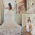 Blanco romántico Apliques de Encaje Princesa de La Sirena Tribunal Tren Vestidos de Novia Elegante de Tres Cuartos de Manga Larga de Encaje Vestidos de Novia