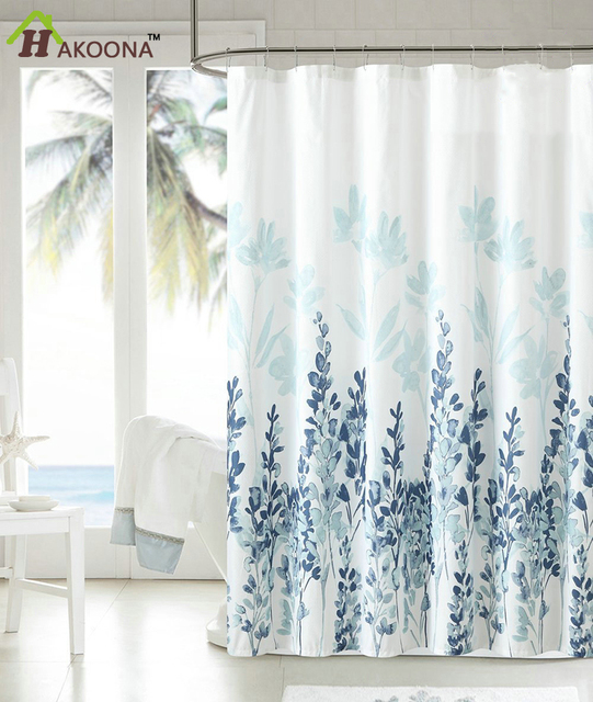 HAKOONA Hotel Home Shower Curtain Blue Gray Printed Polyester Waterproof Set 3D Digital Printing 71x71