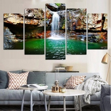 Waterfall in the Mountain Landscape Wall Art Canvas Painting for Dining Room Home Wall Decor Poster Art Print Dropship Wholesale
