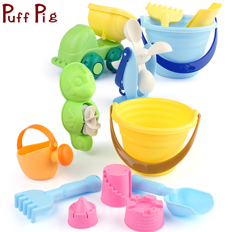 Toys & Hobbies 11-in-1 Beach Soft Plastic Sand Toys Set Castle Molds Bucket Shovels Watering Can Truck Children Magic Novelty Color Random