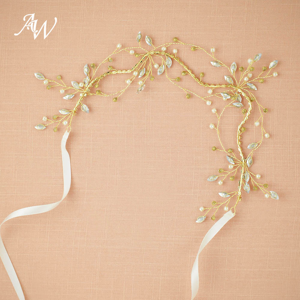 AW Crystal Bridal Hair Vine Ethereal Pearly Headband for Special Occasion Delicate Hair Jewelry for Wedding