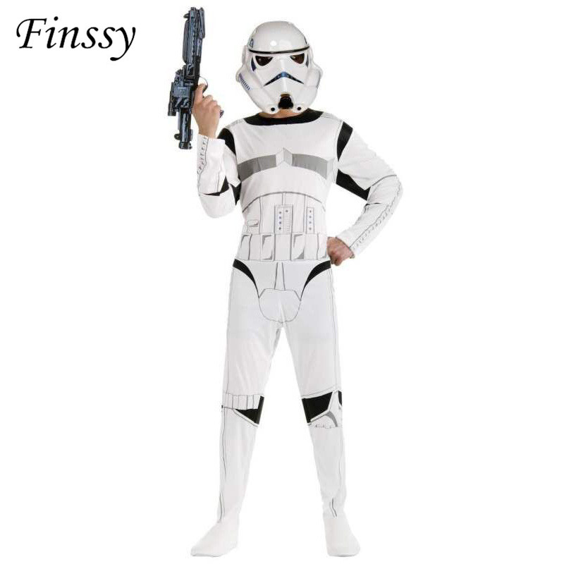 Costume for Boys The Force Awakens Storm Troopers Cosplay Halloween Costume for Kids Carnival Party Dress with Mask