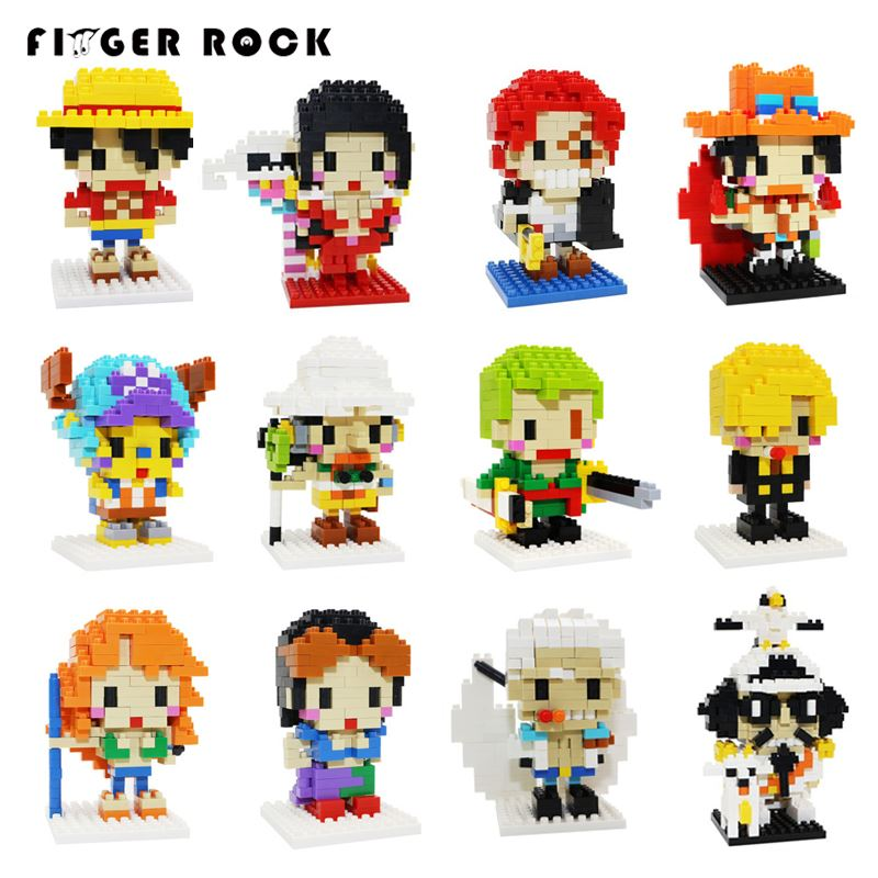 Finger Rock Assembled DIY Diamond Building Blocks One Piece Anime Luffy Chopper Sanji Zoro Figures Toys Building Bricks Gift wisehawk hot plastic nano blocks kawaii anime cartoon one piece luffy action figures building bricks diy models educational toys