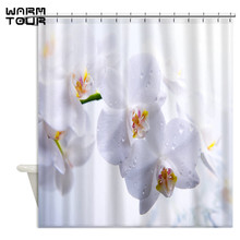 Warm Tour White Orchid Dew Floral Fabric Shower Curtains Waterproof Bathroom Curtain for Home Decoration WTC232