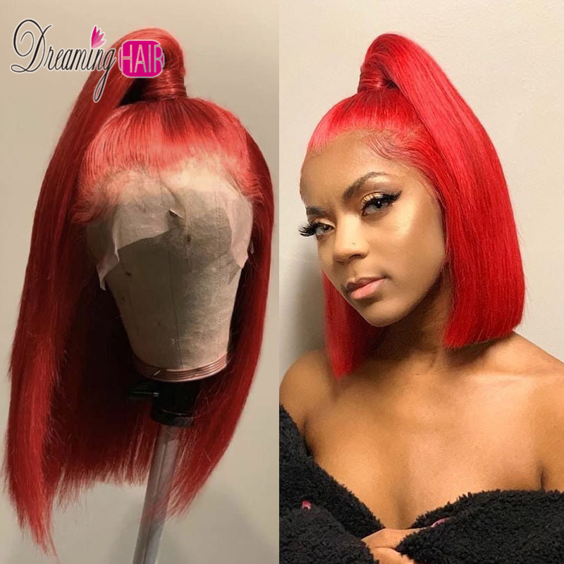 red lace bob wig