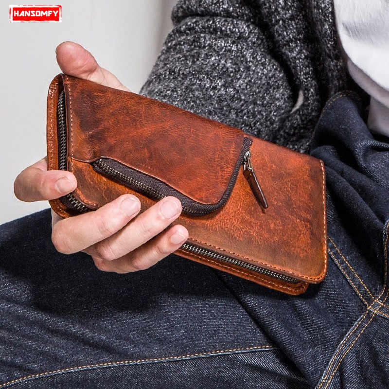 Men's long wallet genuine leather zipper multi-function wallet men's retro personality hand bag mobile wallet tide clutch bags
