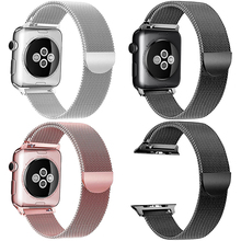 купить Milanese Loop Stainless Steel Strap For Apple Watch Series 1 2 3 4 Magnetic Adjustable Band For Watch Correa 38 40 42 44 mm дешево