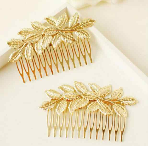 2018 Cool Designer Gold Leaf Bridal Hair Combs Plastic Top Quality Accessories For Women Girls Wedding Bijoux Hair Jewelry