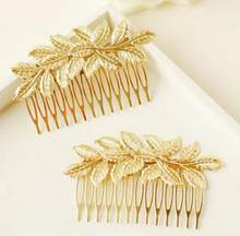 2018 Cool Designer Gold Leaf Bridal Hair Combs Plastic Top Quality Accessories For Women Girls Wedding Bijoux Hair Jewelry(China)