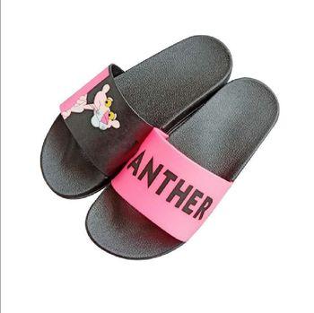 Cartoon Slippers Women Pink Panther Home Summer Sandals Slides Shoes Flip Flops Sandalias Mujer Beach