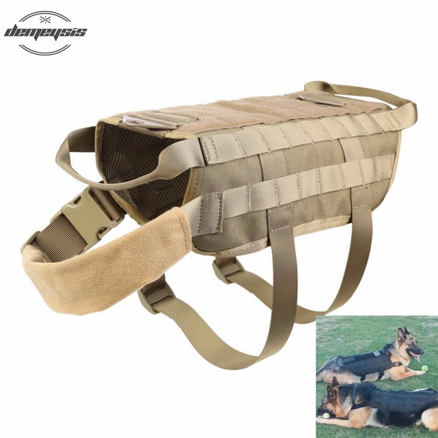 Army Tactical Dog Training Molle Vest Oudoor Military Load Bearing Harness  Dog Vest e19d0d8d583