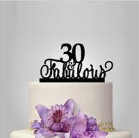 2017 אמיתי מיהר אקריליק עוגת חתונת טופר 30th & Fabulous/מעמד חתונה/קישוט חתונה/יום נישואים טופר מותאם אישית