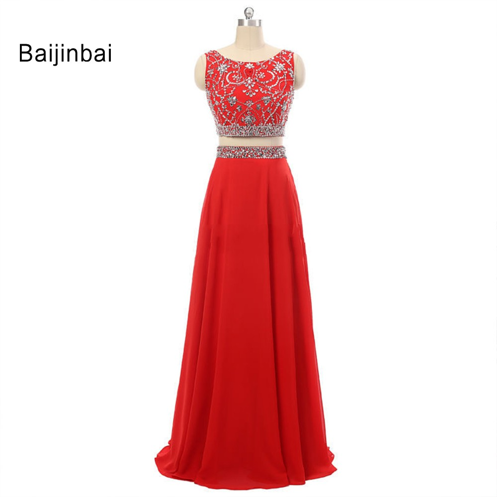 Baijinbai Floor Length Red Chiffon Crystal Beaded Two Pieces Sets Top And Skirt 2019 Fashionable   Prom     Dress   Custom Made S121013