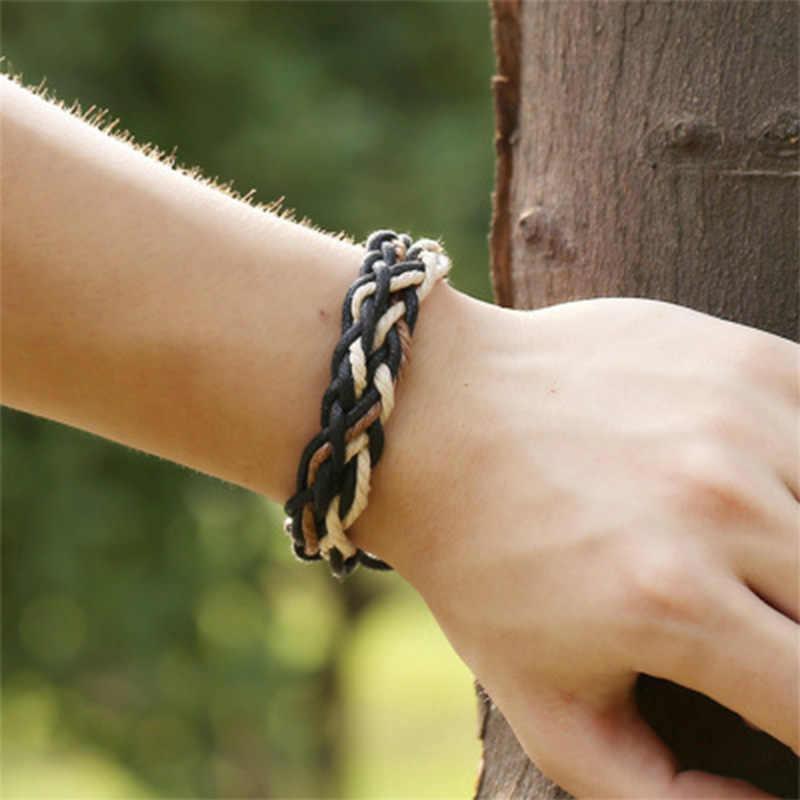PUN mens bracelets 2018 for women personalized charm leather braided bracelet male men female charms braclet hand chain braslet