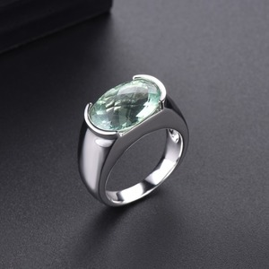 Image 3 - Hutang Womens Ring 6.30ct Natural Green Amethyst Wedding Rings 925 Sterling Silver Gemstone Fine Elegant Classic Jewelry Gift