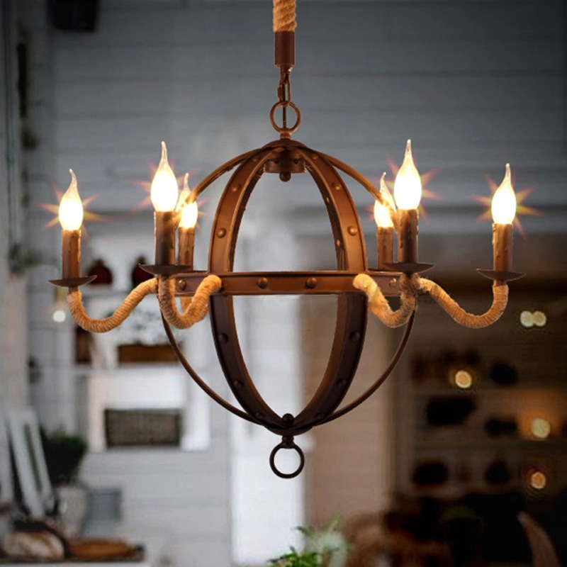 Nordic Loft Vintage American Style Rope Pendant Wrought Iron Chandelier Globe Lamp Lighting Fixtures E14 WPL183 nordic loft vintage american rural countryside creative restaurant bar wrought iron chandelier circle globe lamp lighting wpl226