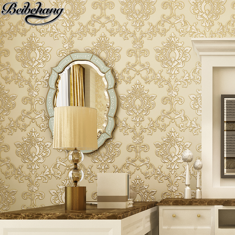 beibehang Luxury European 3D stereo carving fine pressure non - woven wallpaper living room background walpaper papel de parede beibehang pressure 3d non woven wallpaper luxury european style living room wallpaper background wallpaper