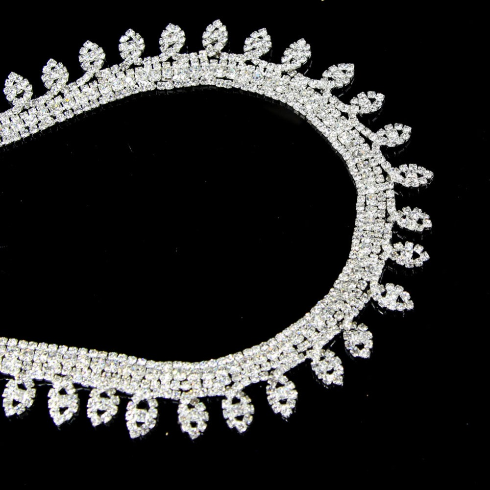 5Yards Clear Diamond Glass Rhinestone Chain Sewing Metal Trimming Crystal Trim Tape Applique Strass Ribbon Banding