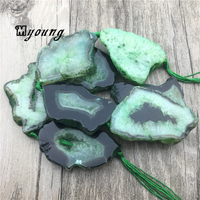 Green Agates Quartz Druzy Geode Freeform Slab Nugget Beads,Raw Gems Stone Drusy Slice Drilled Pendant beadsMY1558