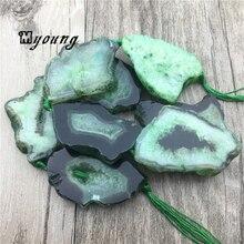 Perles de pépite de dalle de forme libre de Geode de Druzy de Quartz dagates vertes, pierres précieuses brutes pierre Drusy pendentif percé beadsMY1558